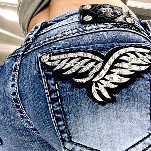Miss Me Skinny Angel Wing Embellished Jeans 31
